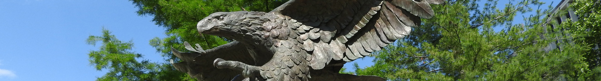 Photograph: Statue of eagle outside Washburn Law building.