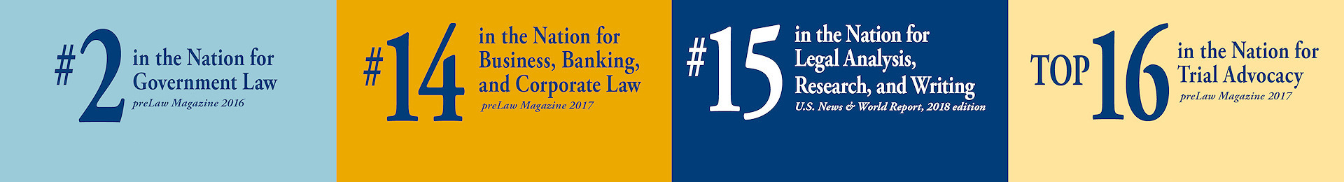 Graphic: Washburn Law has 91% July 2016 UBE pass rate; Legal Analysis, Research, and Writing Program ranked number 15; ranked number 2 in the United States for government law, and top 16 for trial advocacy.