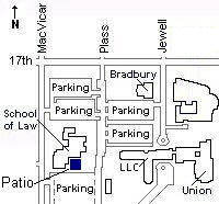 Map: Northwest corner of Washburn Campus showing School of Law building showing patio and nearby parking.