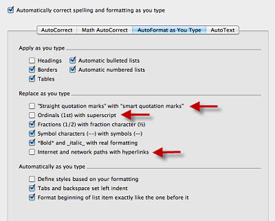 Turn Off AutoFormat in Mac Word