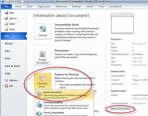 Technology Management Image: Learn To Remove Metadata From Word